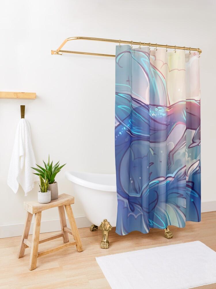 Alternate view of Skyfish Shower Curtain