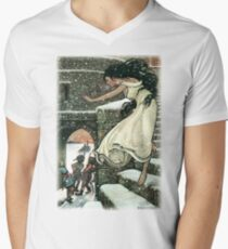 THE PRINCESS RAN WITH HER FEET ALL BARE OUT INTO THE OPEN from The Russian Story Book  V-Neck T-Shirt