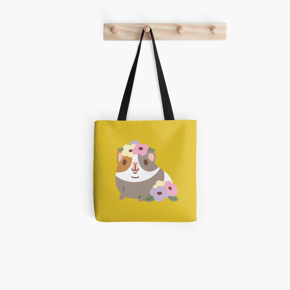 Guinea pig and flowers Pattern  Tote Bag