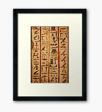 Egypt hieroglyphs, grunge seamless pattern Framed Print