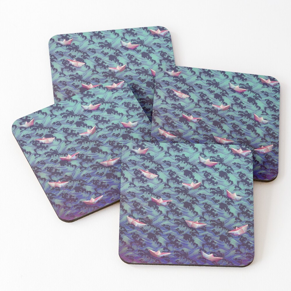 Japanese waves and paper boats Coasters (Set of 4)