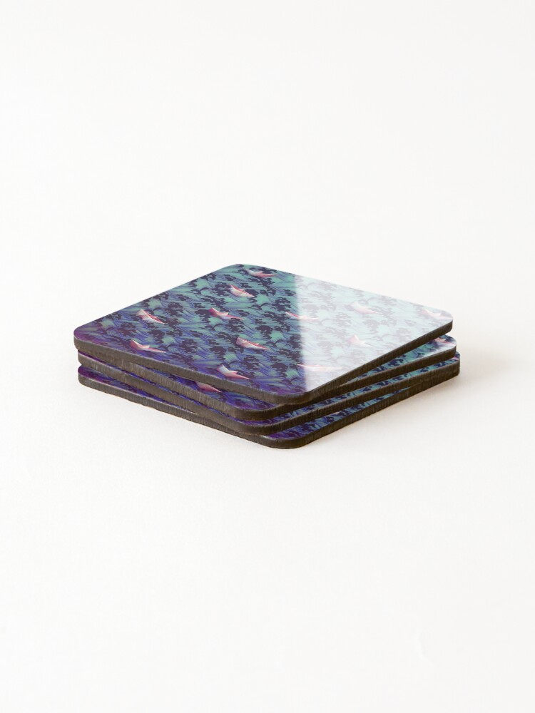 Alternate view of Japanese waves and paper boats Coasters (Set of 4)