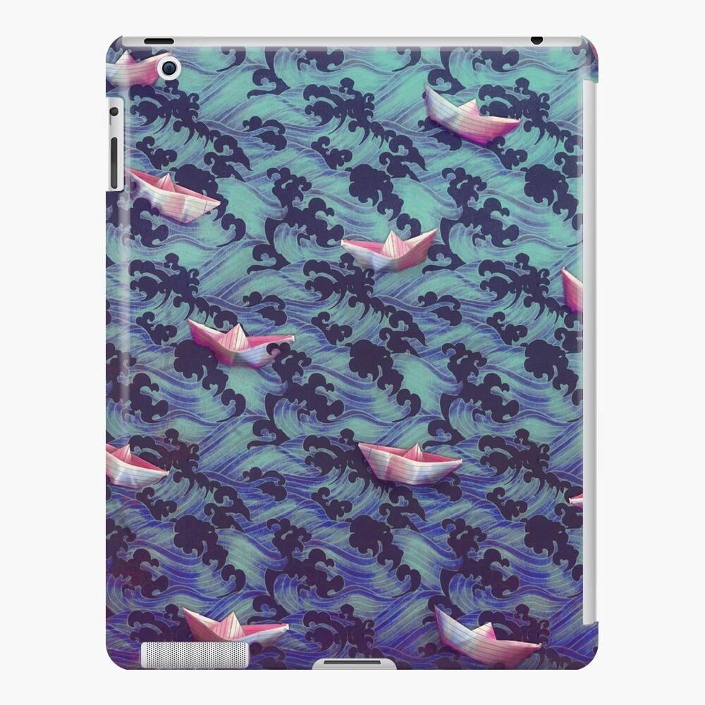 Japanese waves and paper boats iPad Case & Skin