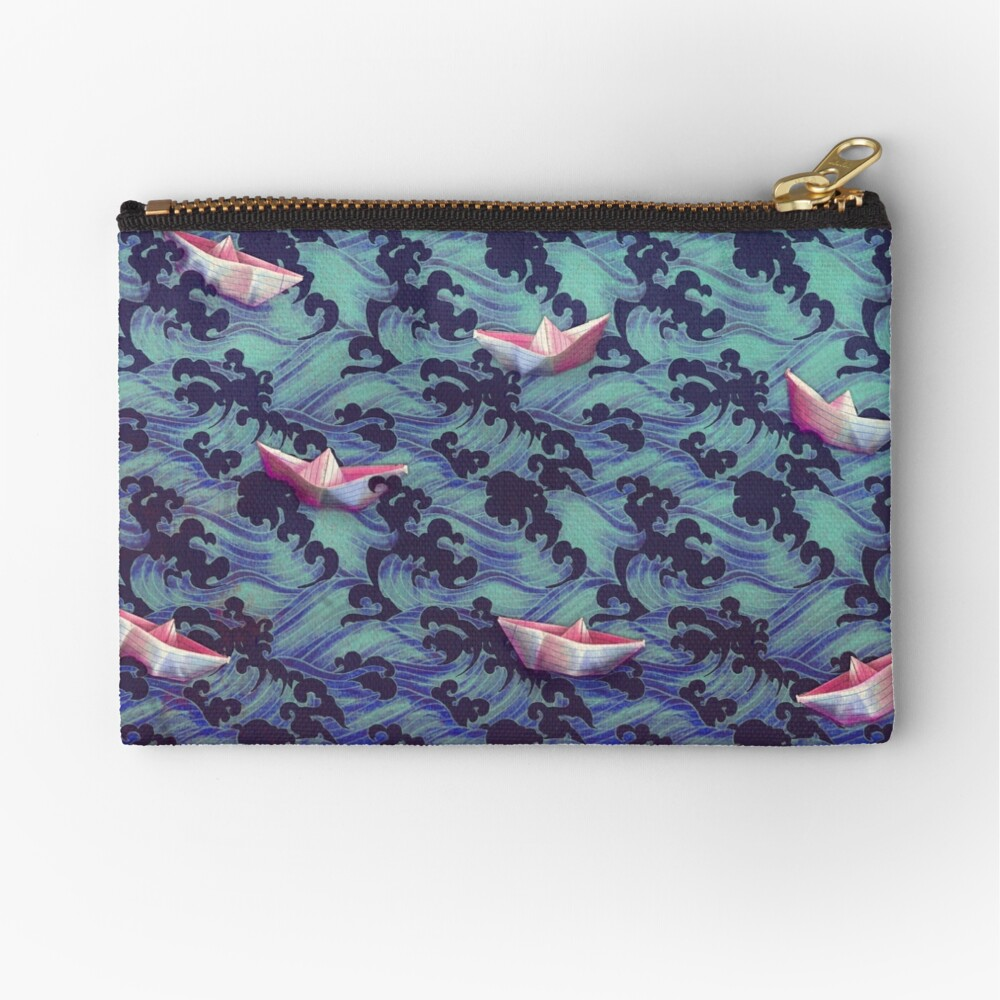 Japanese waves and paper boats Zipper Pouch