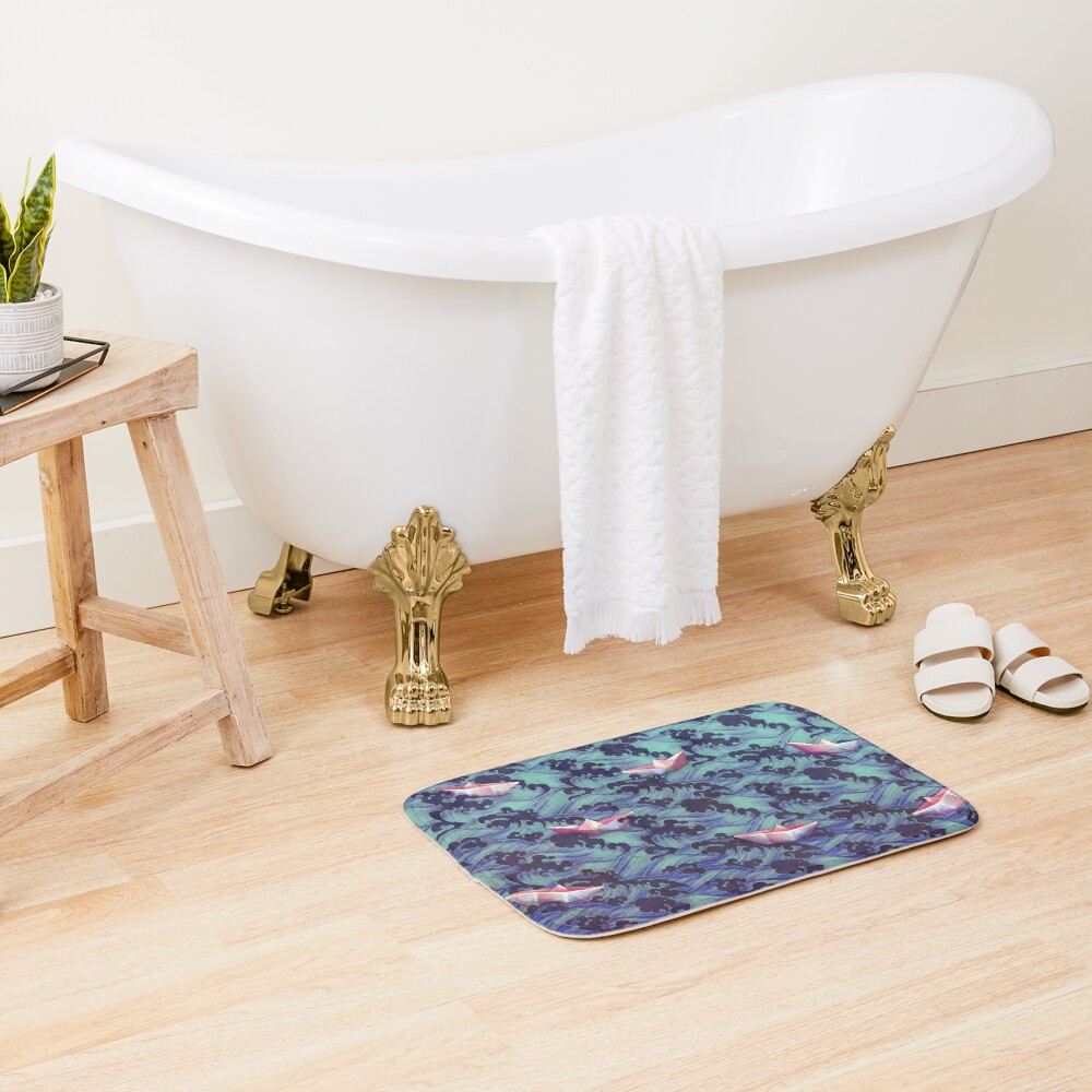 Japanese waves and paper boats Bath Mat