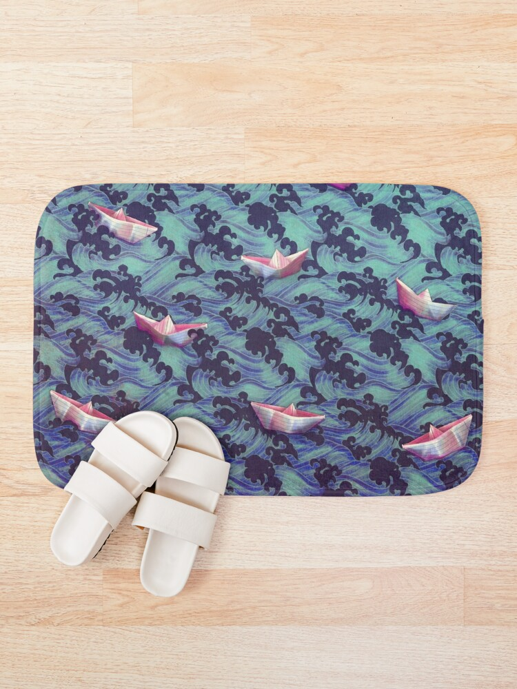 Alternate view of Japanese waves and paper boats Bath Mat