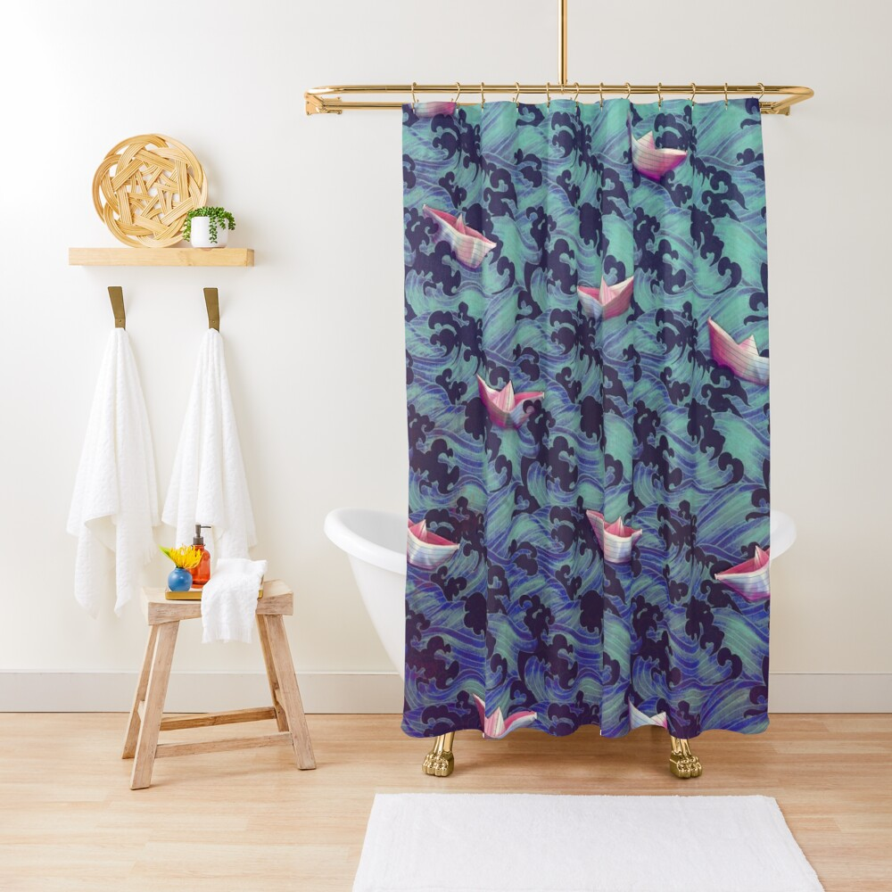 Japanese waves and paper boats Shower Curtain