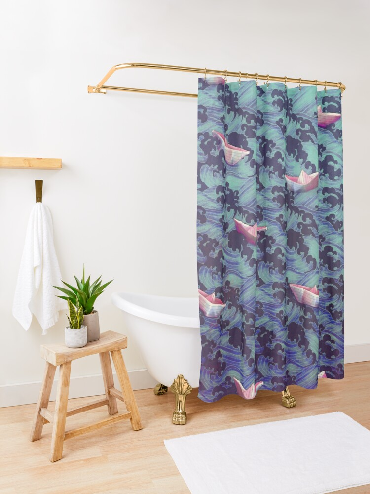 Alternate view of Japanese waves and paper boats Shower Curtain