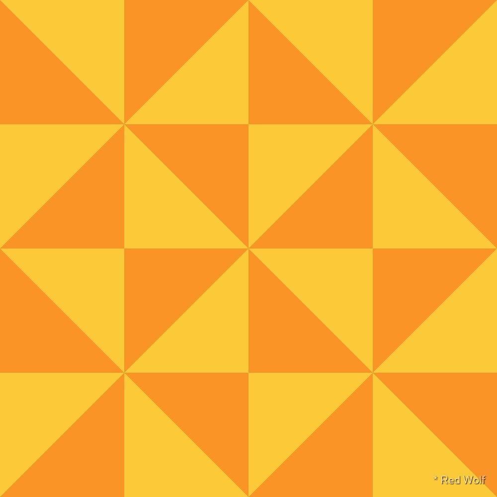 Geometric Pattern: Square Triangle: Light Orange by * Red Wolf