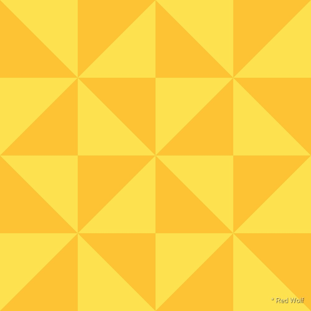 Geometric Pattern: Square Triangle: Light Yellow by * Red Wolf