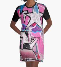 GRAFFITI POPART STREETART MIT STERN PINK T-Shirt Kleid