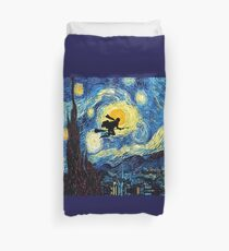 Halloween Flying Young Wizzard with broom Duvet Cover