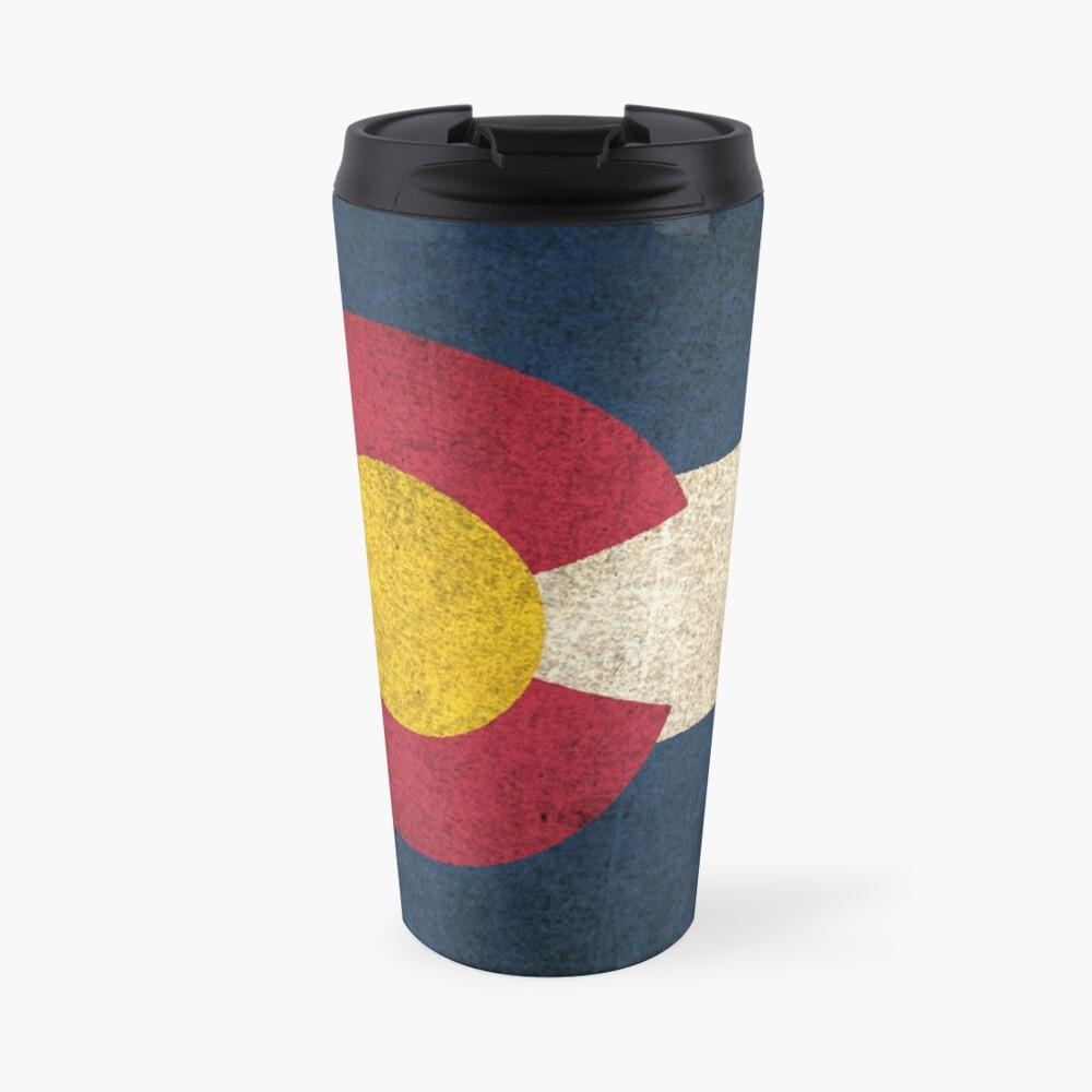 Old and Worn Distressed Vintage Flag of Colorado Travel Mug