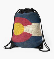 Alte und abgenutzte beunruhigte Weinlese-Flagge von Colorado Turnbeutel