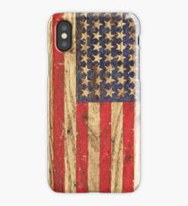 Vintage Patriotic American Flag on Old Wood Grain iPhone Case