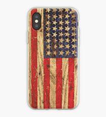 Vintage Patriotic American Flag on Old Wood Grain iPhone Case
