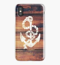 Vintage Nautical Anchor White on Brown Wood Grain iPhone Case