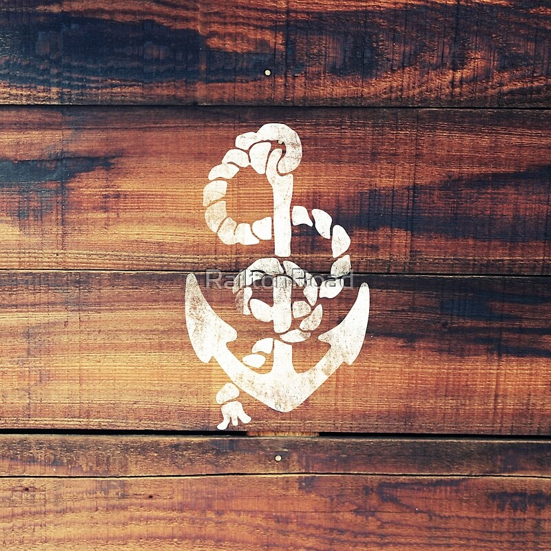 """Vintage Nautical Anchor White on Brown Wood Grain"" Metal ..."