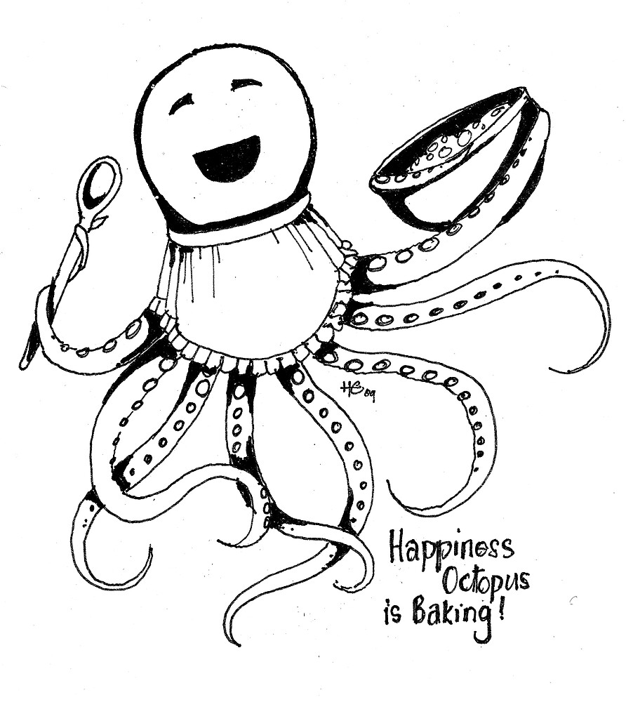 Happiness Octopus is Baking by Miss Dilettante