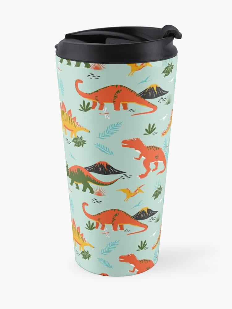 Alternate view of Jurassic Dinosaur in Blue + Red Travel Mug