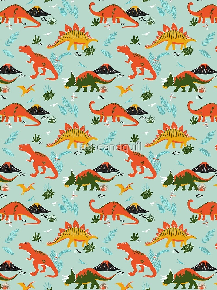 Jurassic Dinosaur in Blue + Red by latheandquill