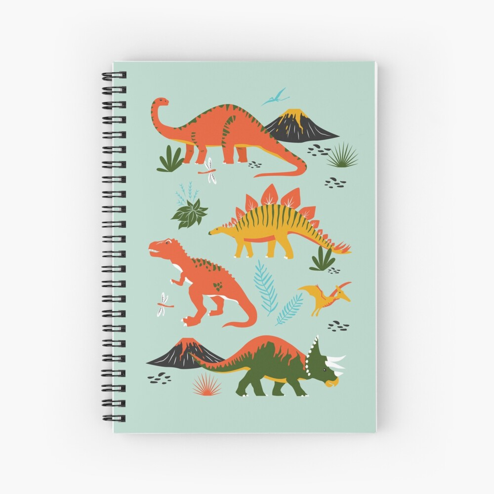 Jurassic Dinosaur in Blue + Red Spiral Notebook