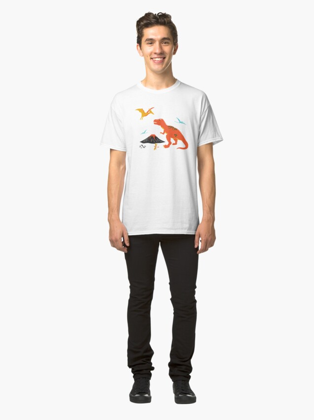 Alternate view of Jurassic Dinosaur in Blue + Red Classic T-Shirt