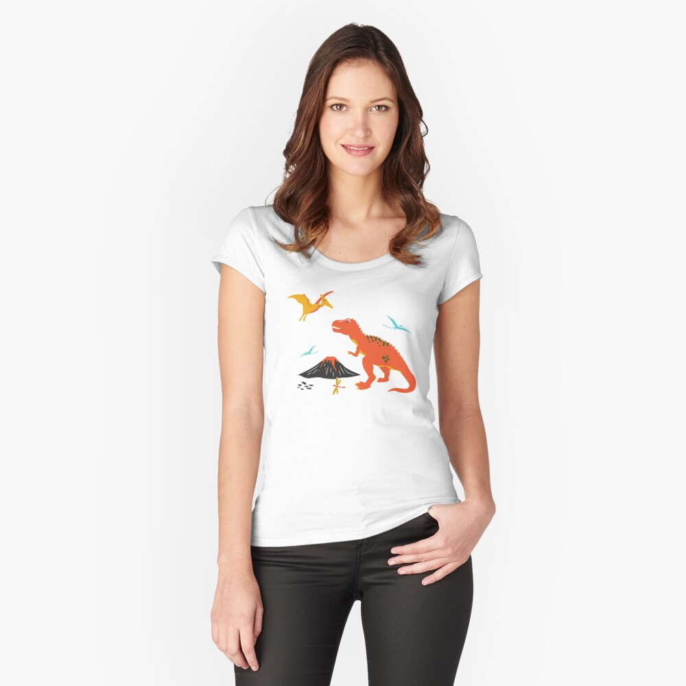 Jurassic Dinosaur in Blue + Red Fitted Scoop T-Shirt