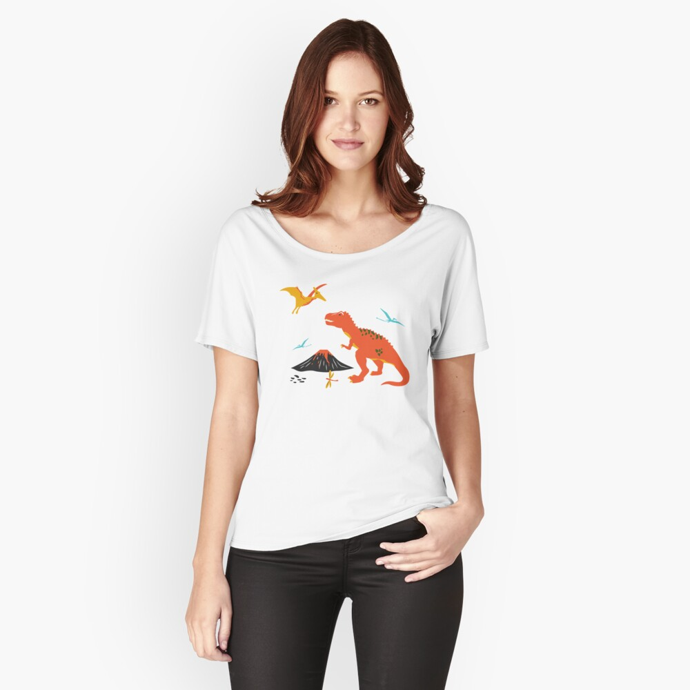Jurassic Dinosaur in Blue + Red Relaxed Fit T-Shirt