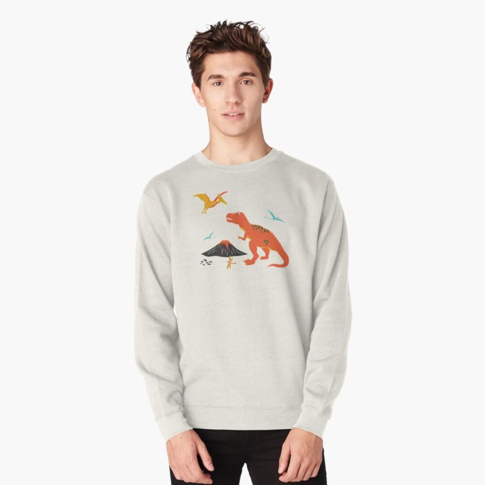 Jurassic Dinosaur in Blue + Red Pullover Sweatshirt