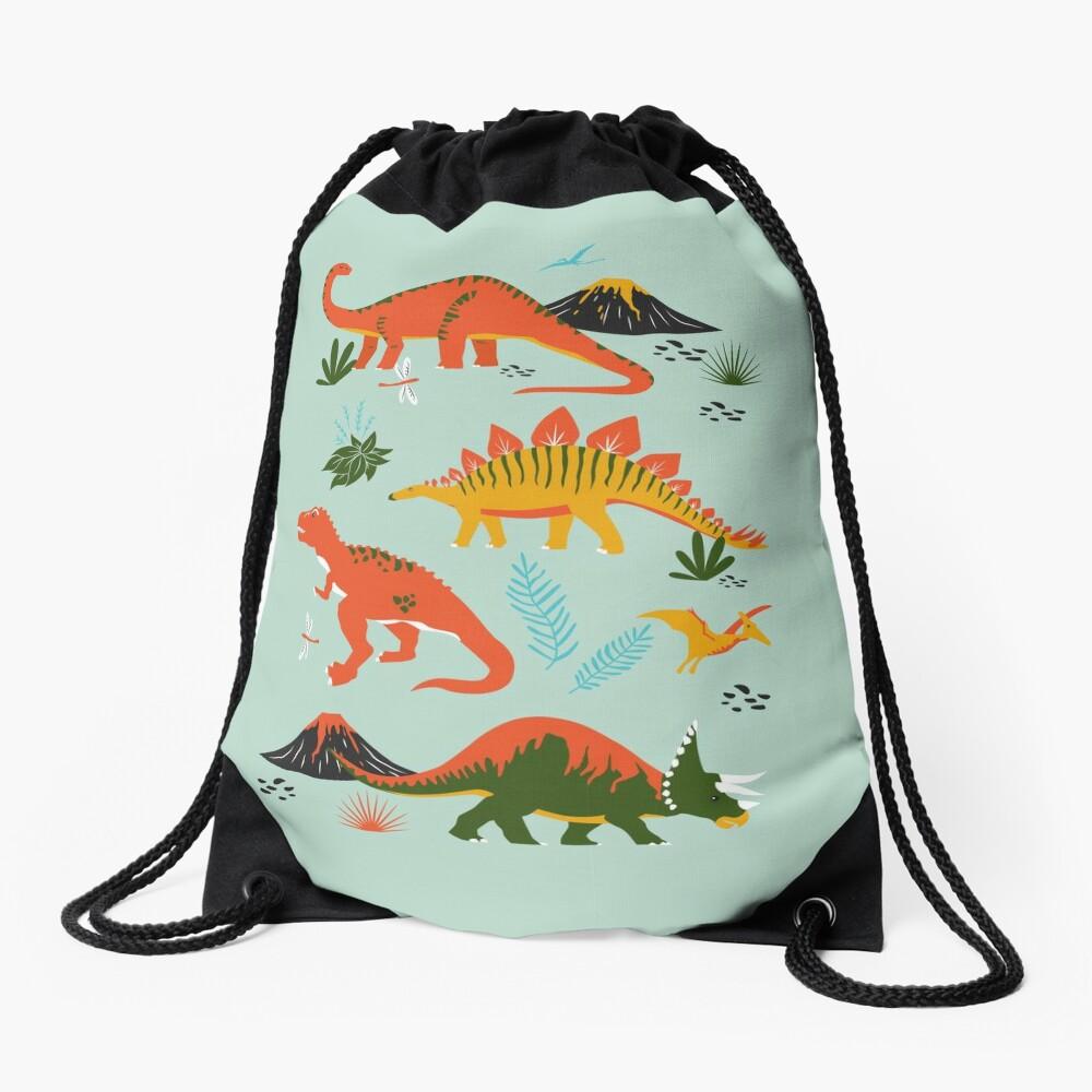 Jurassic Dinosaur in Blue + Red Drawstring Bag