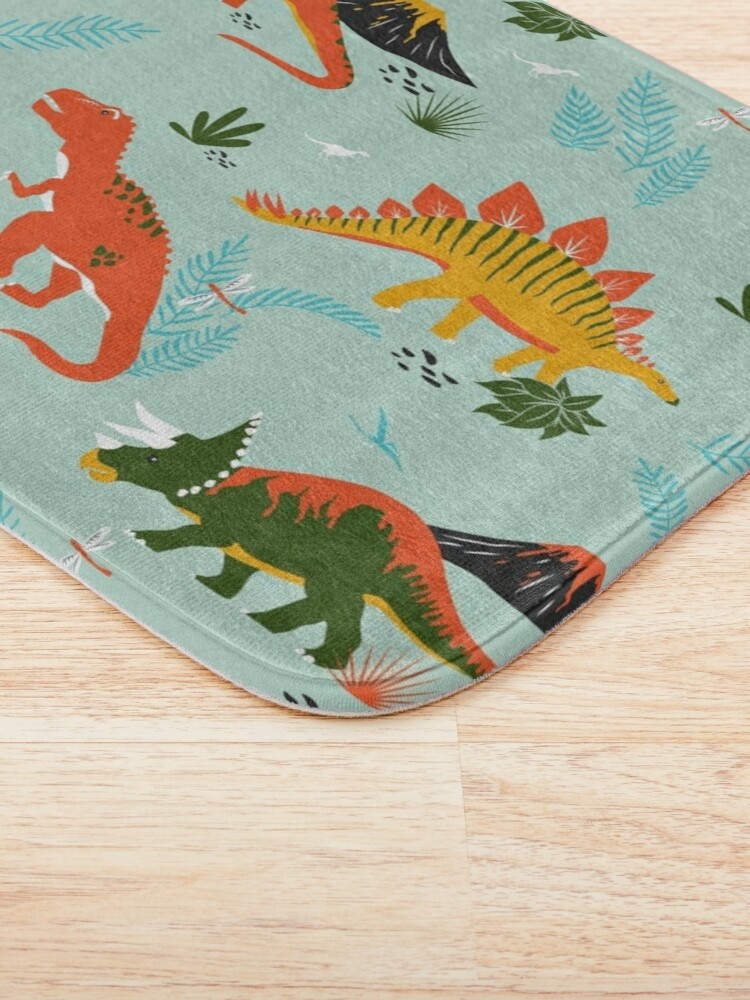 Alternate view of Jurassic Dinosaur in Blue + Red Bath Mat