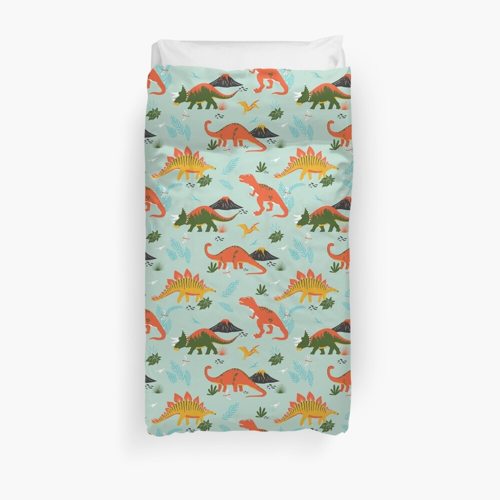 Jurassic Dinosaur in Blue + Red Duvet Cover