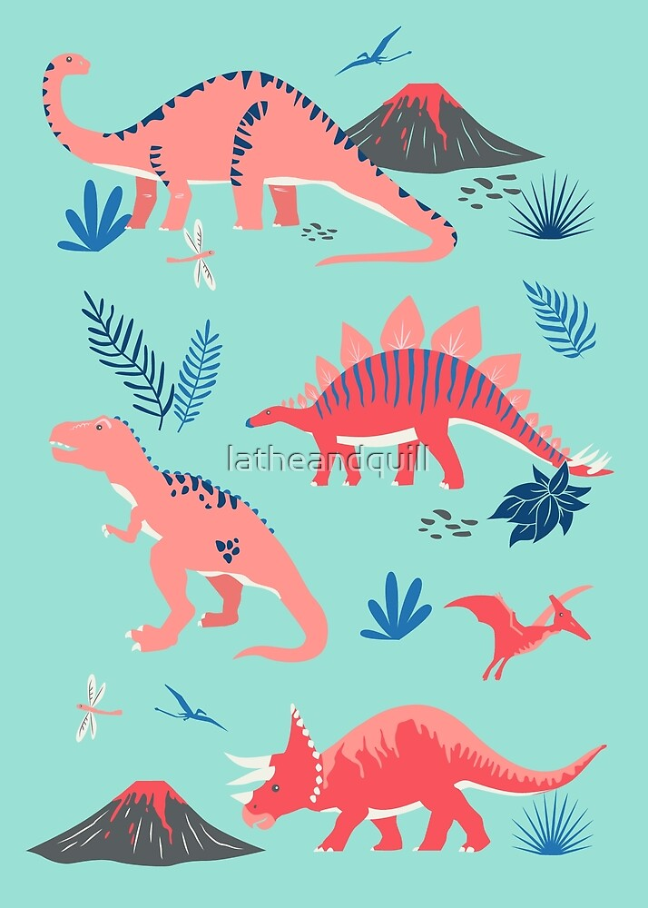 Jurassic Dinosaurs in Turquoise + Coral by latheandquill