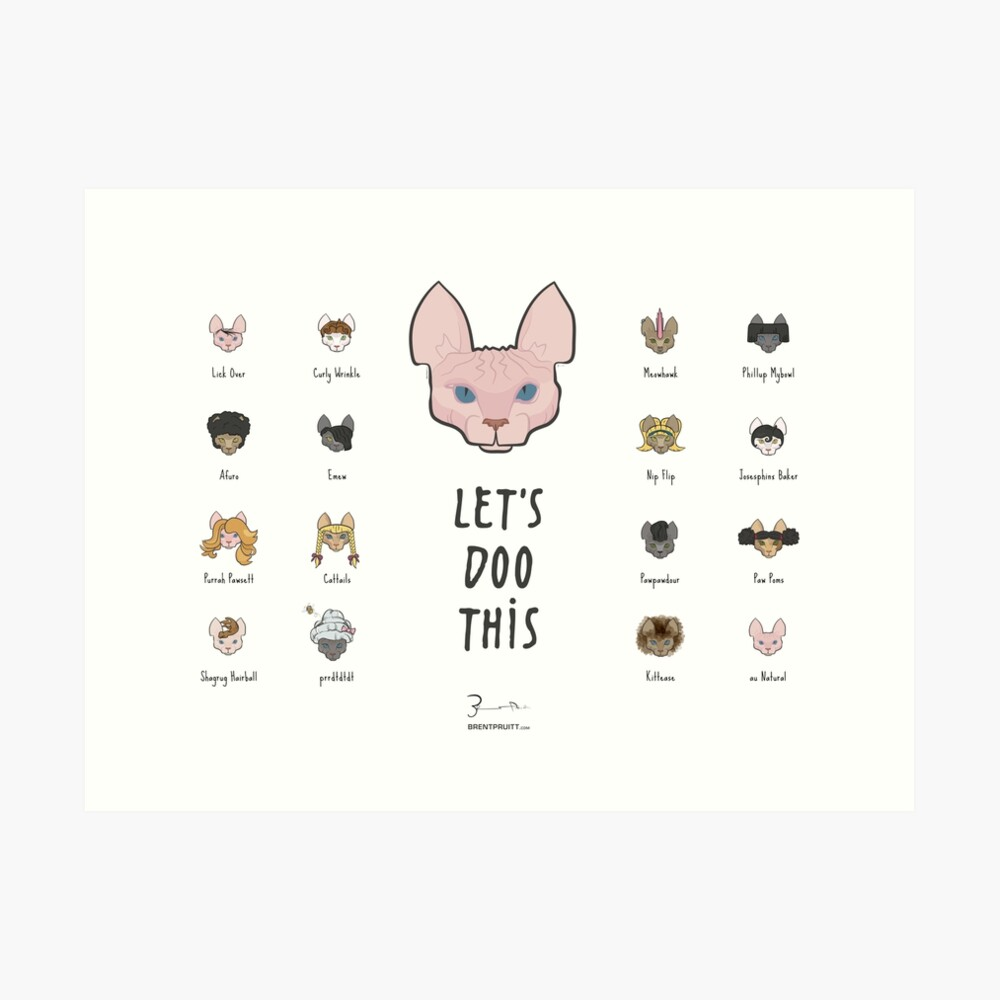 Let's Doo This [Trendy Hair Styles for Sphinx Cats] Art Print