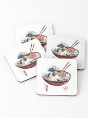 Great Ramen Wave White Coasters