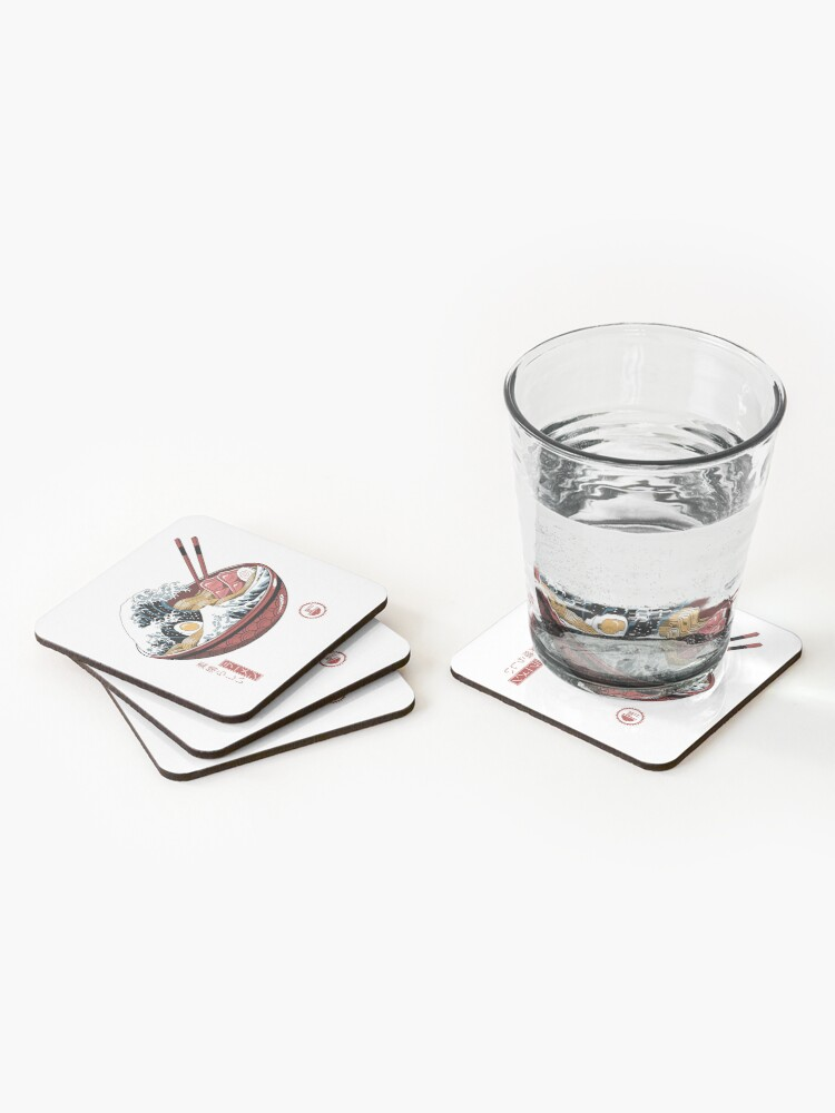 Alternate view of Great Ramen Wave White Coasters (Set of 4)