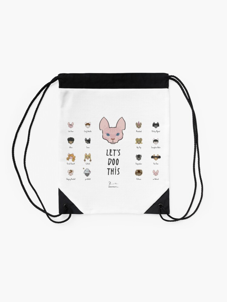 Alternate view of Let's Doo This [Trendy Hair Styles for Sphinx Cats] Drawstring Bag