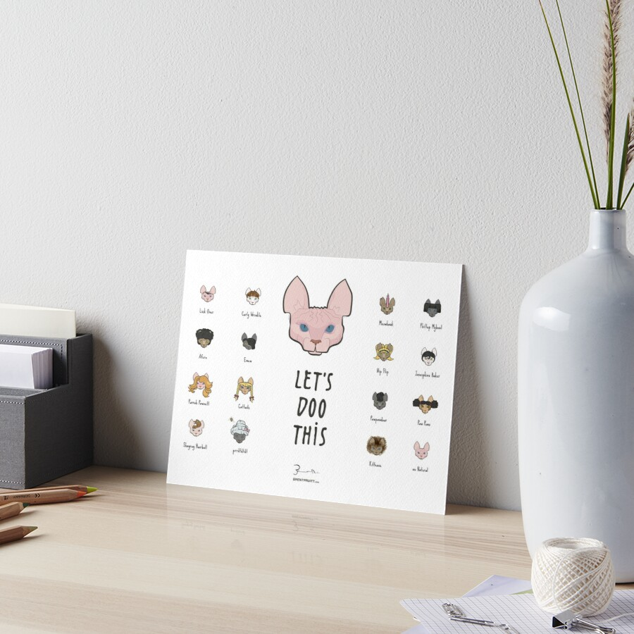 Let's Doo This [Trendy Hair Styles for Sphinx Cats] Art Board Print