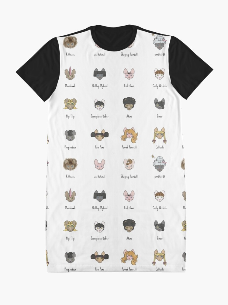 Alternate view of Let's Doo This [Trendy Hair Styles for Sphinx Cats] Graphic T-Shirt Dress