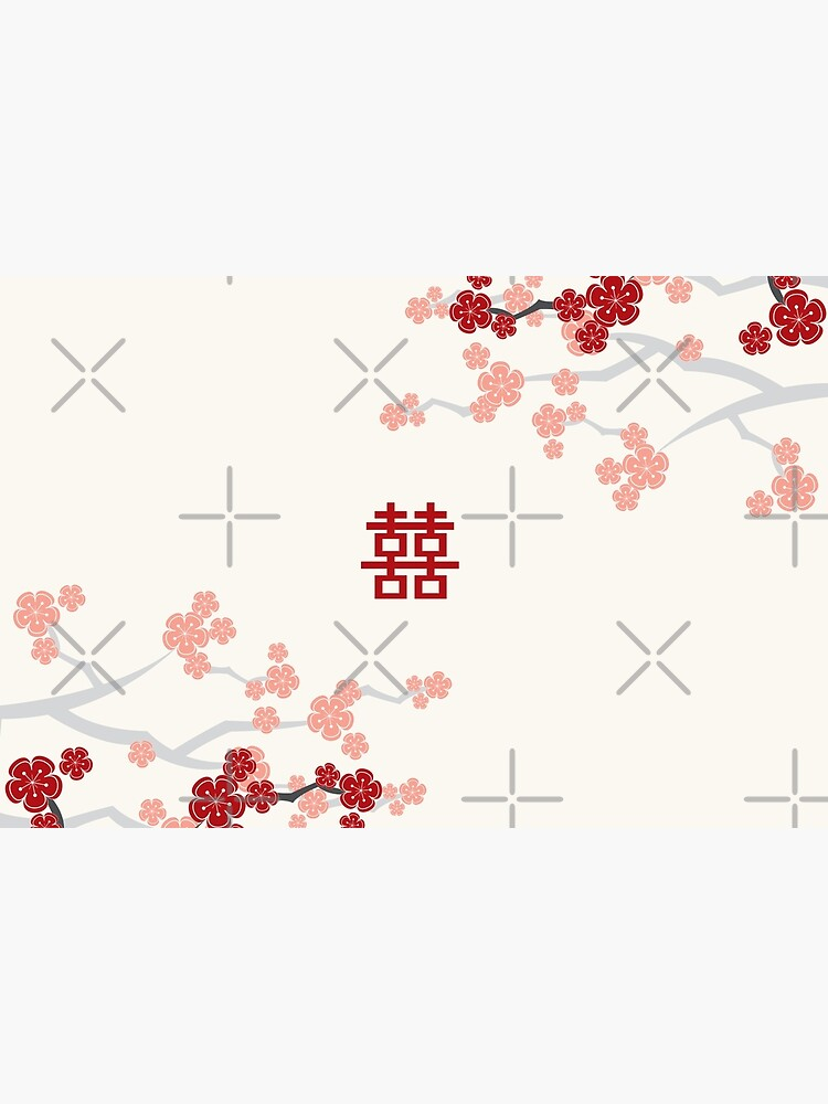 Red Oriental Cherry Blossoms on Ivory and Chinese Wedding Double Happiness | Japanese Sakura  by fatfatin