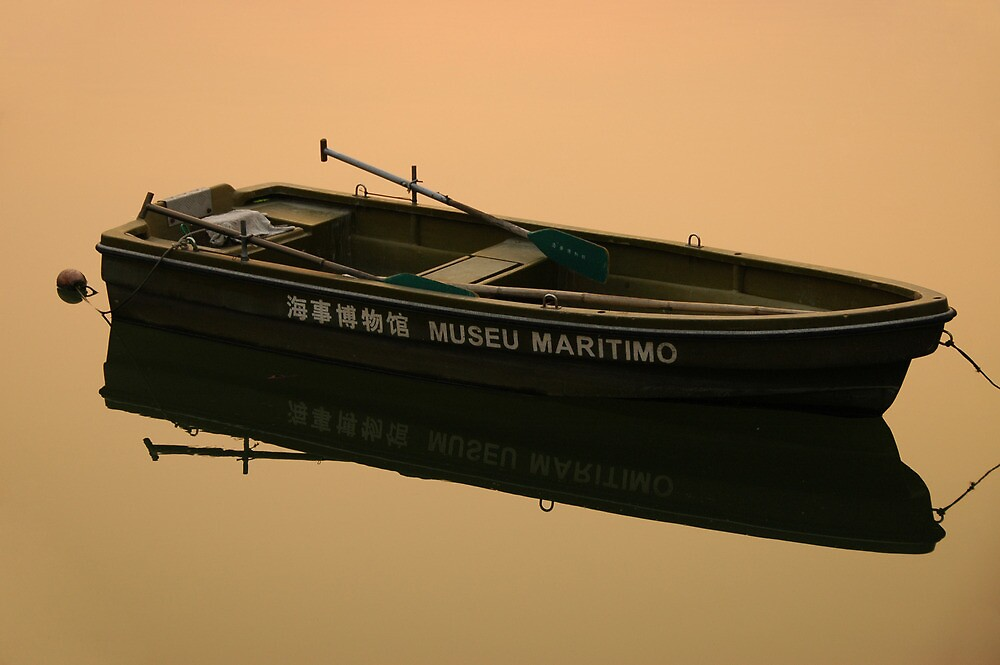 Sunset Light on Dinghy, Macau by Stephen Tapply