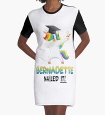 Bernadette Nailed It Dabbing Unicorn Graduate - Graduation Gift For Bernadette College Pre-school University Graphic T-Shirt Dress