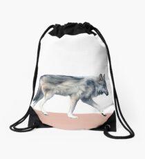Wolf on Blush Drawstring Bag