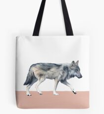 Wolf on Blush Tote Bag
