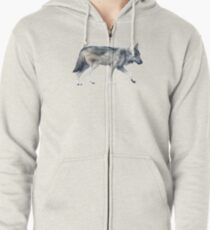 Wolf on Blush Zipped Hoodie