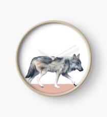 Wolf on Blush Clock