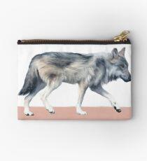 Wolf on Blush Zipper Pouch