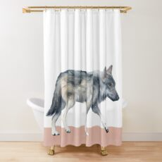 Wolf on Blush Shower Curtain