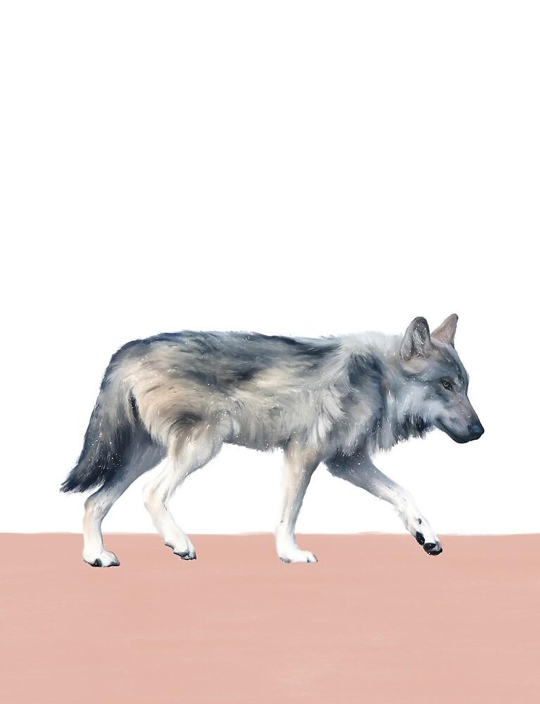 Wolf on Blush by Amy Hamilton